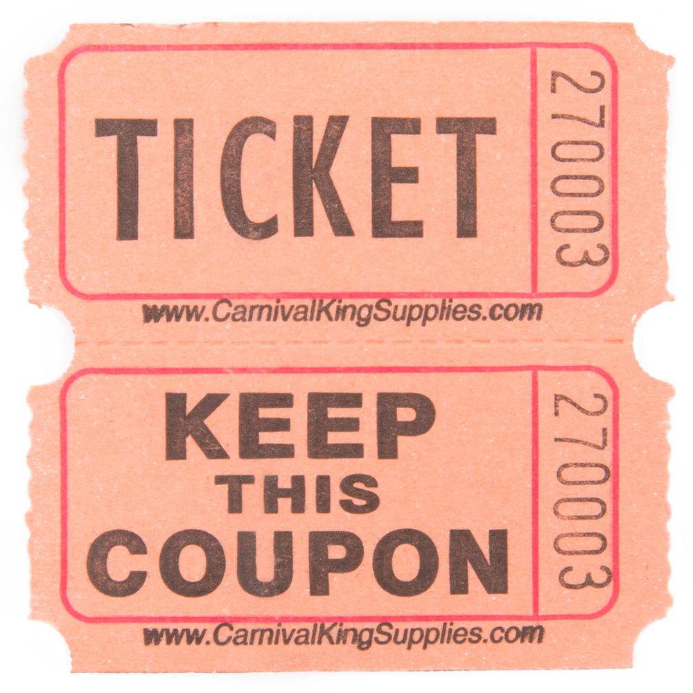 Carnival King Orange 2-Part Raffle Tickets - 2000/Roll