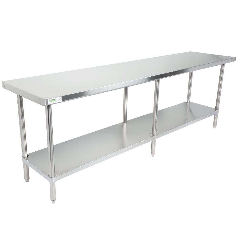 Regency 30 inch x 96 inch 16-Gauge 304 Stainless Steel Commercial Work Table with Undershelf
