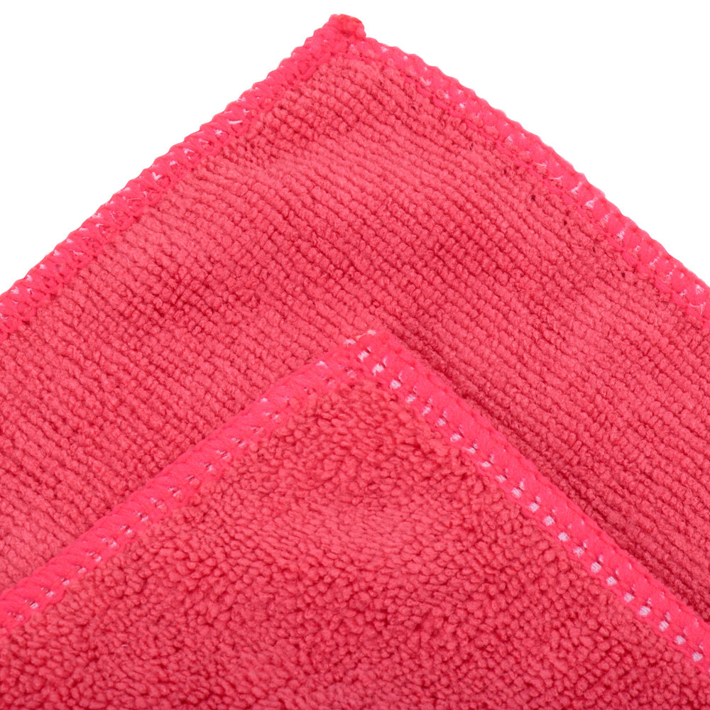 """Microfiber Cloth Guide: Unger MC40R SmartColor MicroWipe 16"""" X 16"""" Red Light-Duty"""