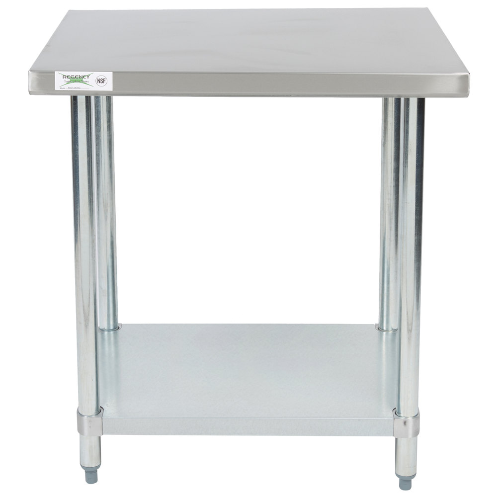 Regency 24 inch x 30 inch 18-Gauge 304 Stainless Steel Commercial Work Table with Galvanized Legs and Undershelf