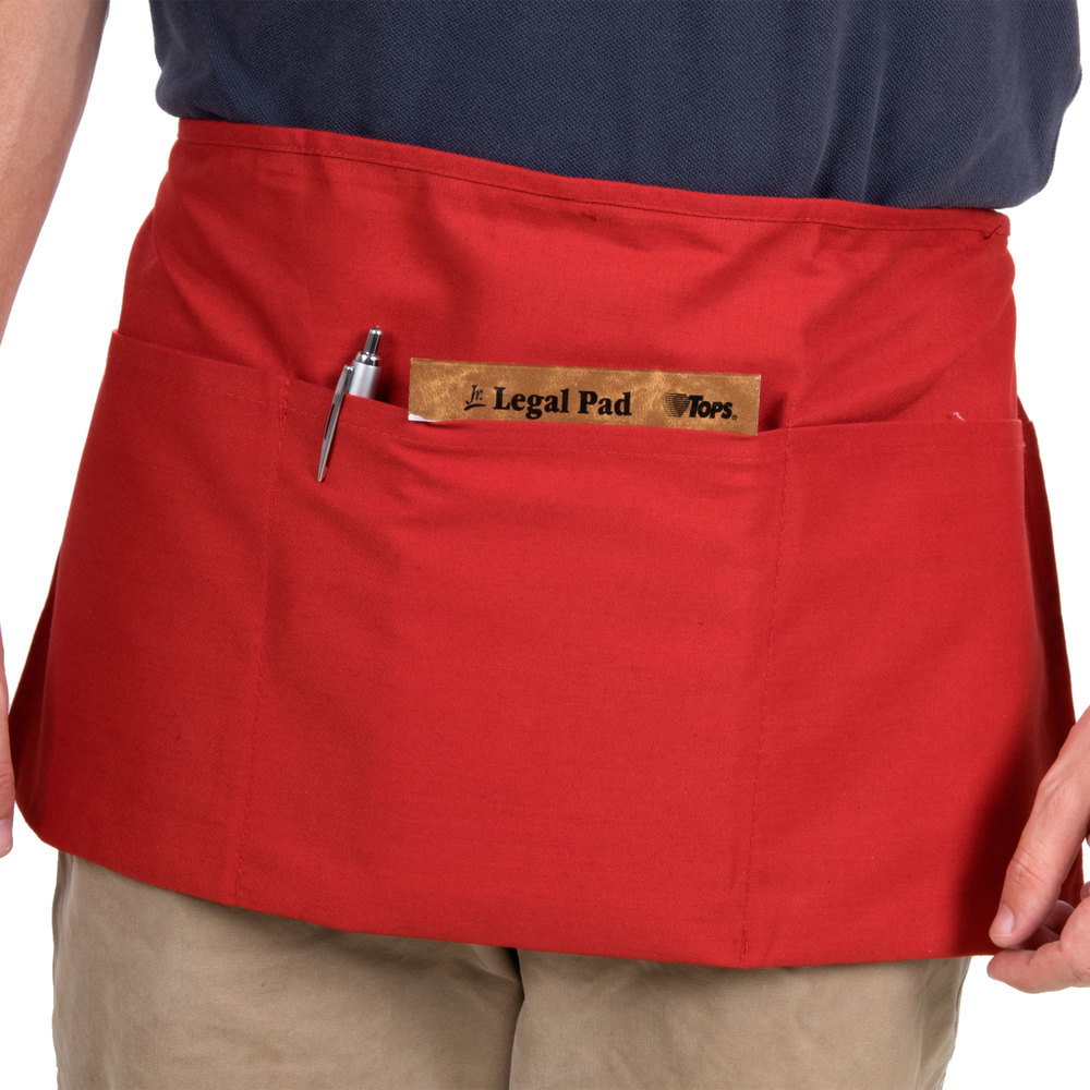 """Choice 12"""" x 24"""" Red Front of the House Waist Apron"""