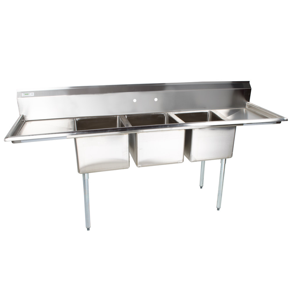 Regency 103 inch 16-Gauge Stainless Steel Three Compartment Commercial Sink with 2 Drainboards - 17 inch x 17 inch x 12 inch Bowls