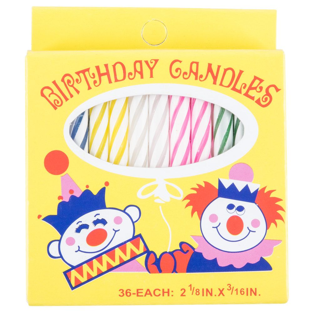 Sterno Products 40180 2 1 8 Inch 36 Count Multi Colored Birthday Candles