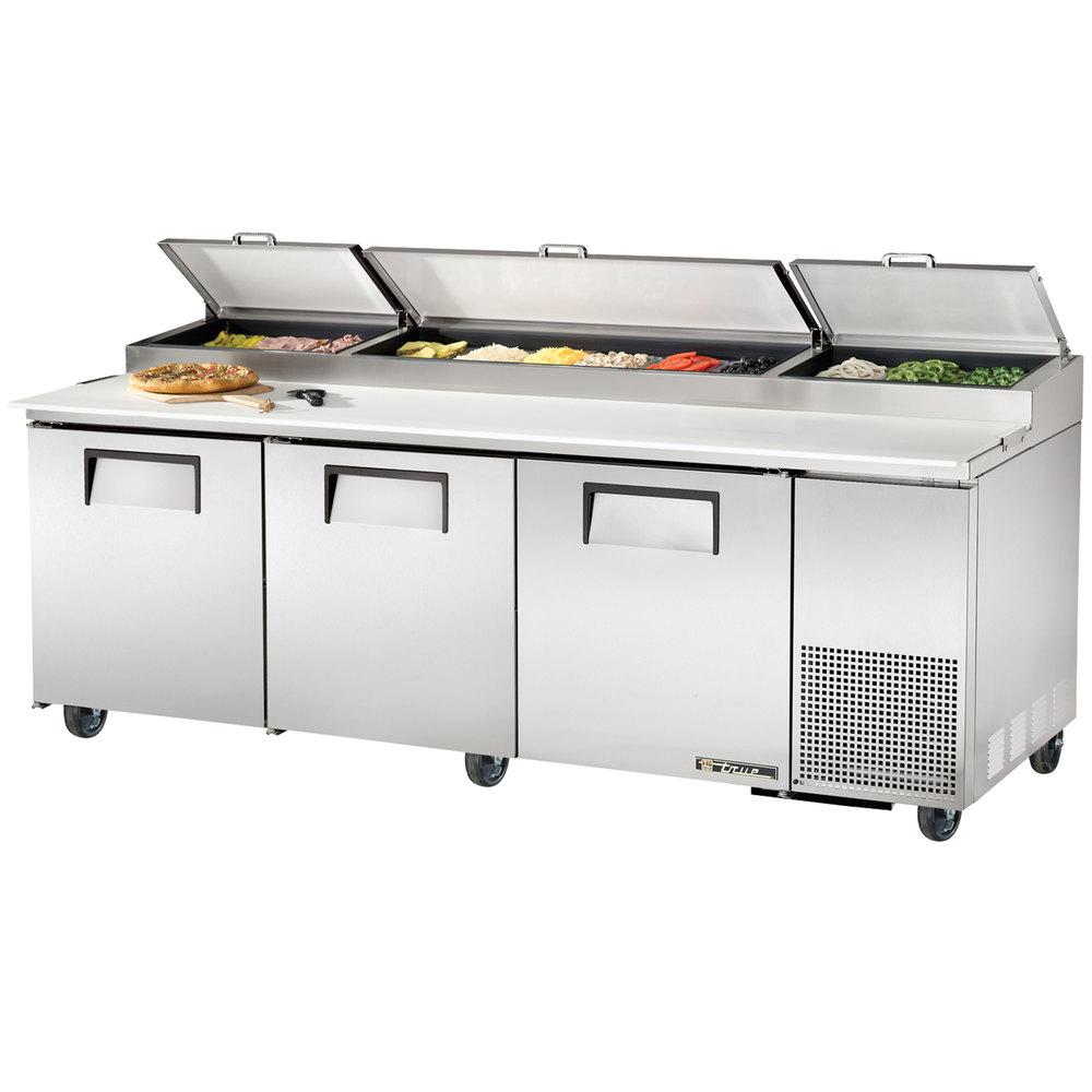 True Prep Table | True TPP-93 Pizza Prep Table - 3 Door Refrigerated