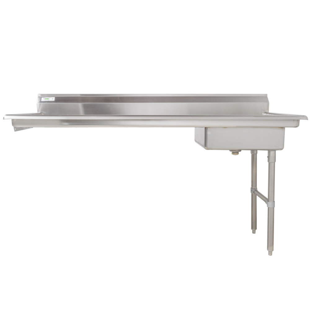 Right Drainboard Regency 72 inch 16-Gauge Stainless Steel Soiled / Dirty Undercounter Dishtable
