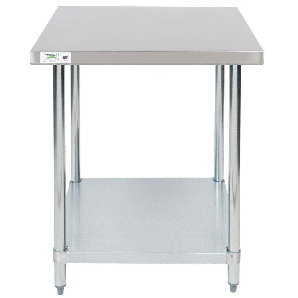 Regency 30 inch x 30 inch 18-Gauge 304 Stainless Steel Commercial Work Table with Galvanized Legs and Undershelf