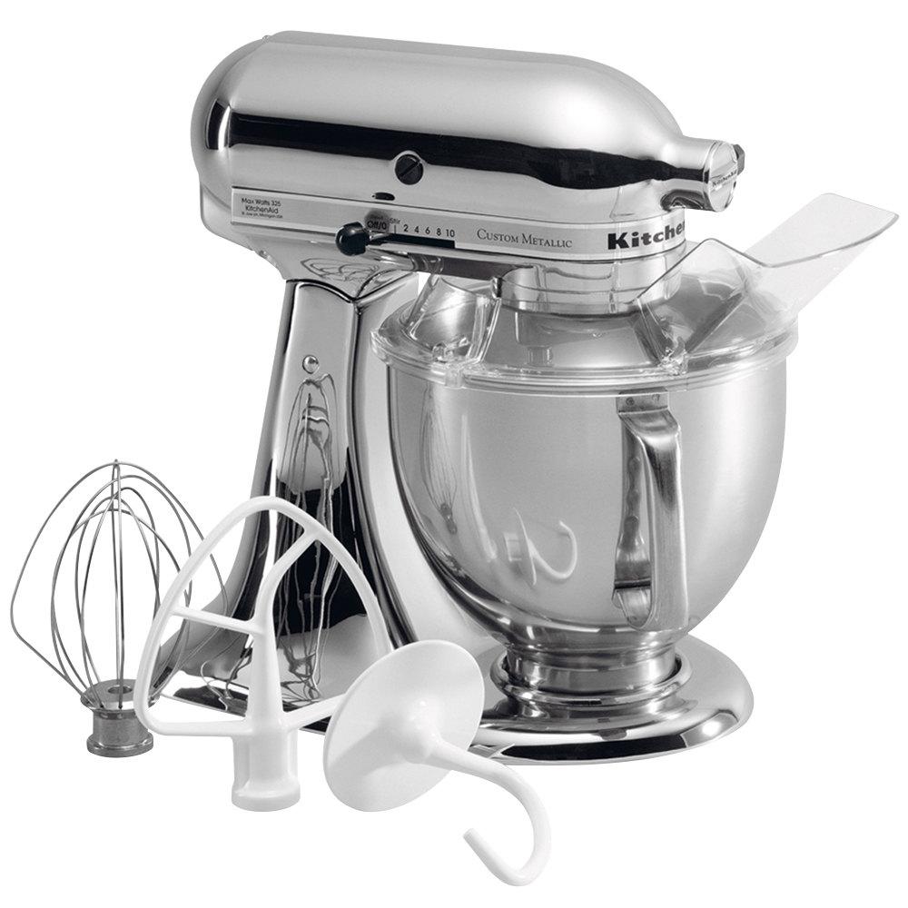 Kitchenaid ksm152pscr chrome custom metallic series 5 qt countertop mixer - Kitchenaid qt mixer review ...