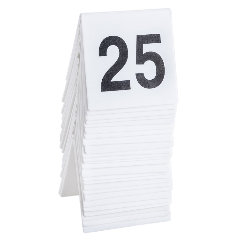 GET NUM-1-25 Numbers 1 Through 25 Table Tent Number ...  sc 1 st  WebstaurantStore & Table Number Tents | Restaurant Table Number Tents