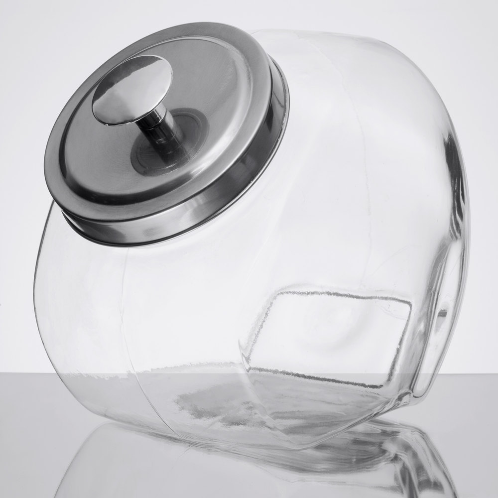 core 1 gallon glass penny candy jar with chrome lid. Black Bedroom Furniture Sets. Home Design Ideas