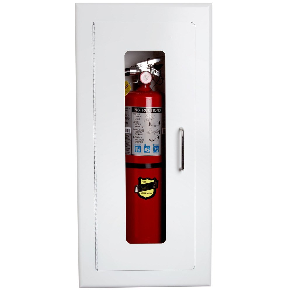 Red Buckeye fire extinguisher in white fire extinguisher cabinet