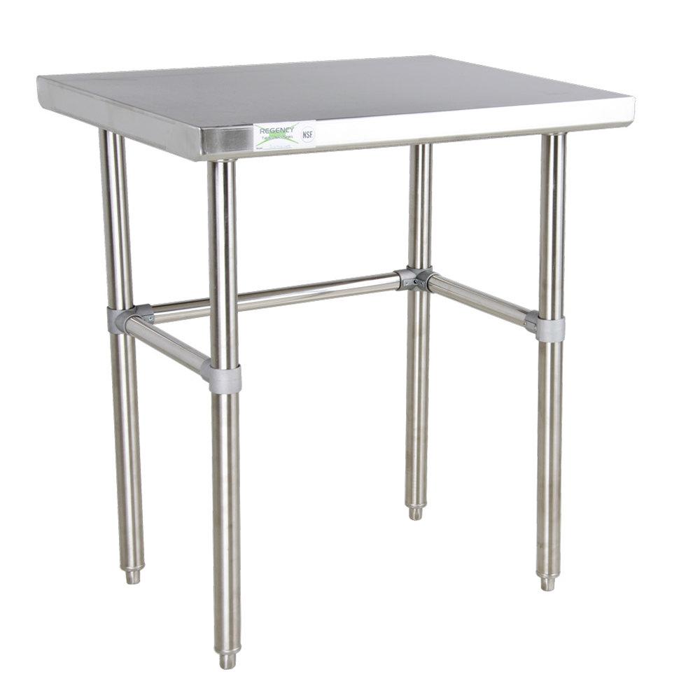 Regency 30 inch x 36 inch 16-Gauge 304 Stainless Steel Commercial Open Base Work Table