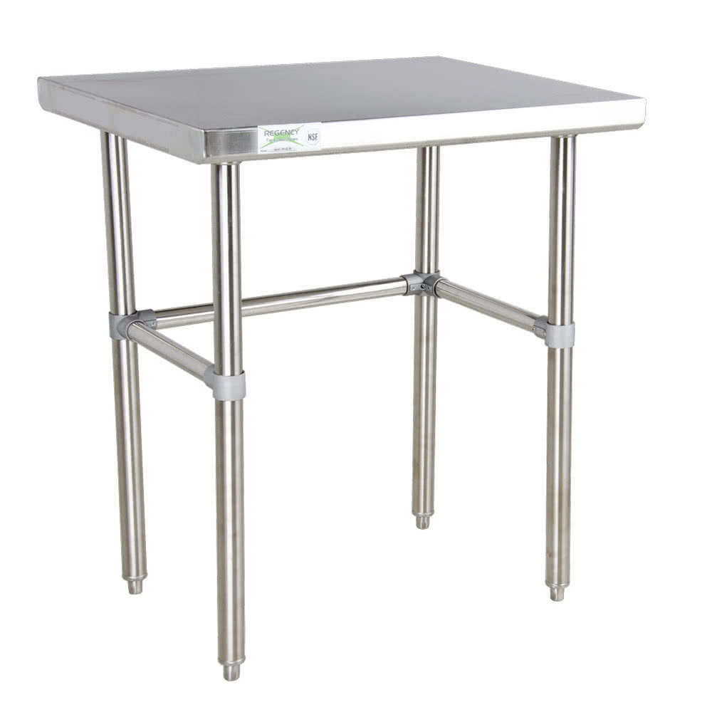Regency 30 inch x 36 inch 16-Gauge 304 Stainless Steel Commercial Open Base Work Table