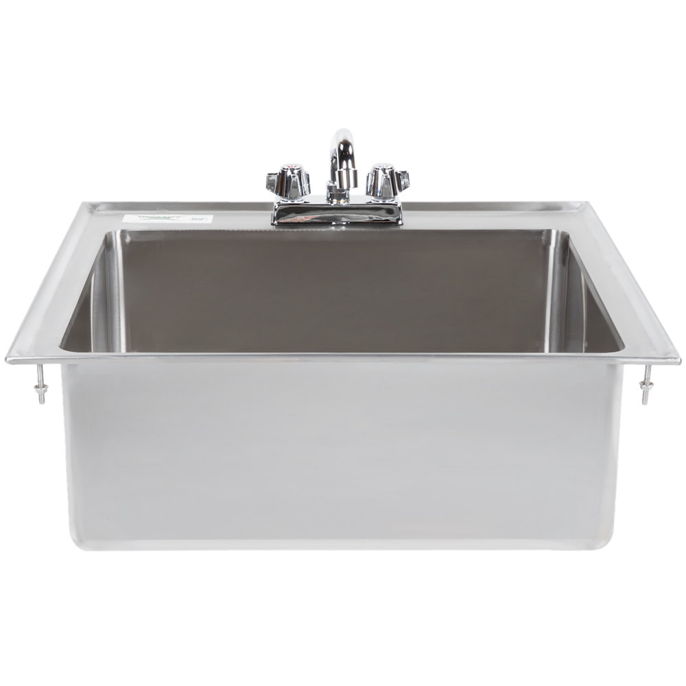 Regency 20 inch x 16 inch x 8 inch 16-Gauge Stainless Steel One Compartment Drop-In Sink with 8 inch Faucet