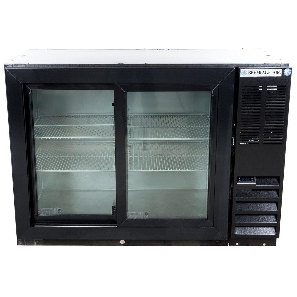 "Basement Bar Conceptual Would Need Glass Sliding Doors: Beverage-Air BB48HC-1-GS-B 48"" Black Back Bar Refrigerator"