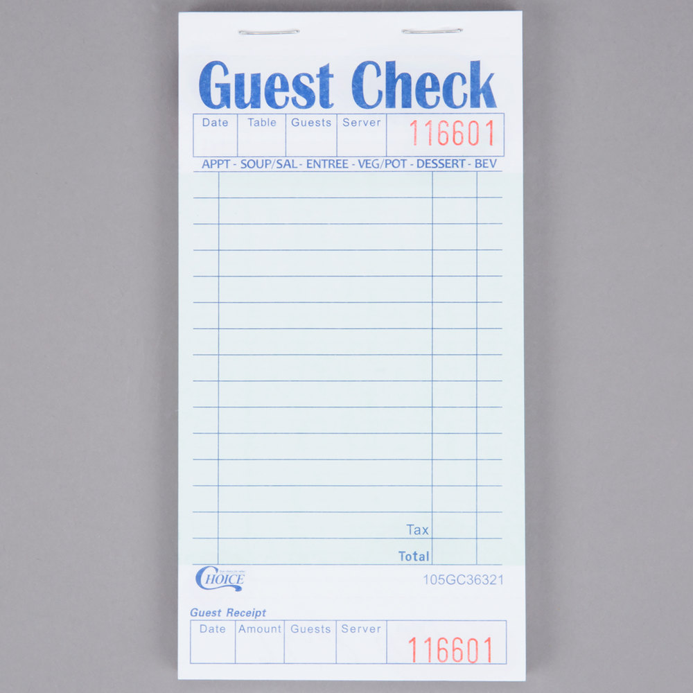 Choice 1 Part Green And White Guest Check With Bottom Guest Receipt    10/Pack ...  Guest Check Template