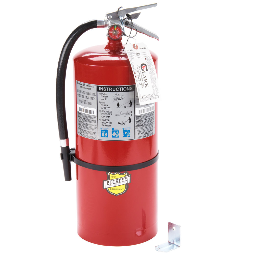 buckeye 20 lb. abc fire extinguisher - rechargeable tagged - ul