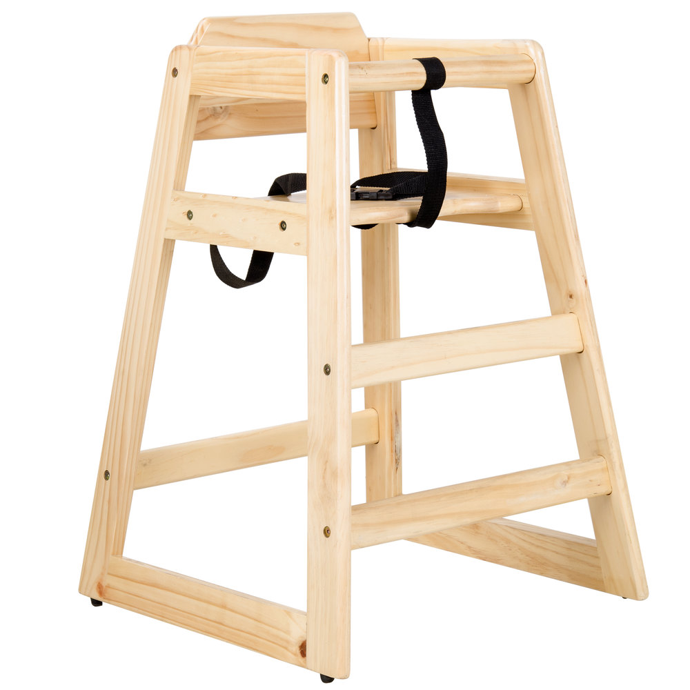 """29 1/4"""" Stacking Restaurant Wood High Chair with Natural ..."""