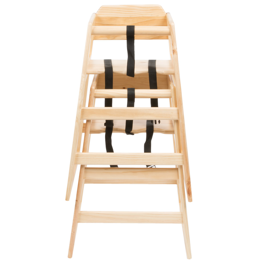 29 14 Stacking Restaurant Wood High Chair with Natural Finish