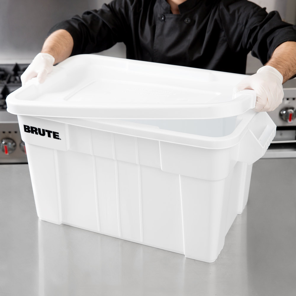 Rubbermaid Fg9s3100wht White Brute 20 Gallon Nsf Tote With Lid
