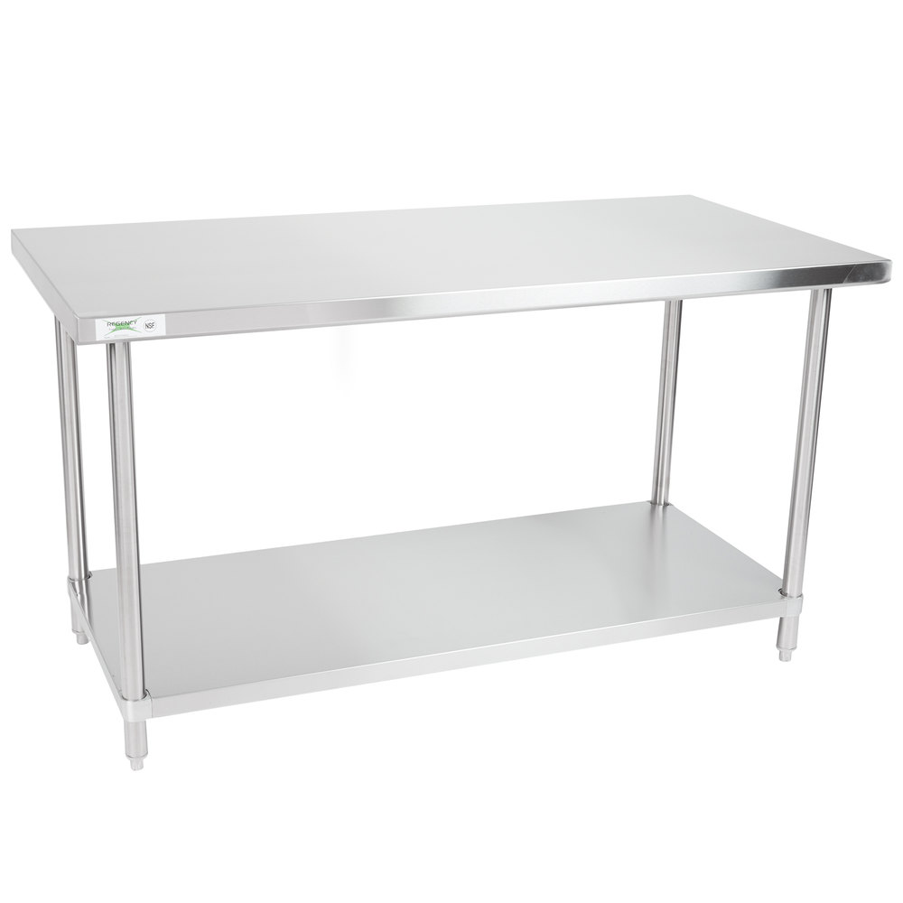 Regency 30 inch x 60 inch 16-Gauge 304 Stainless Steel Commercial Work Table with Undershelf