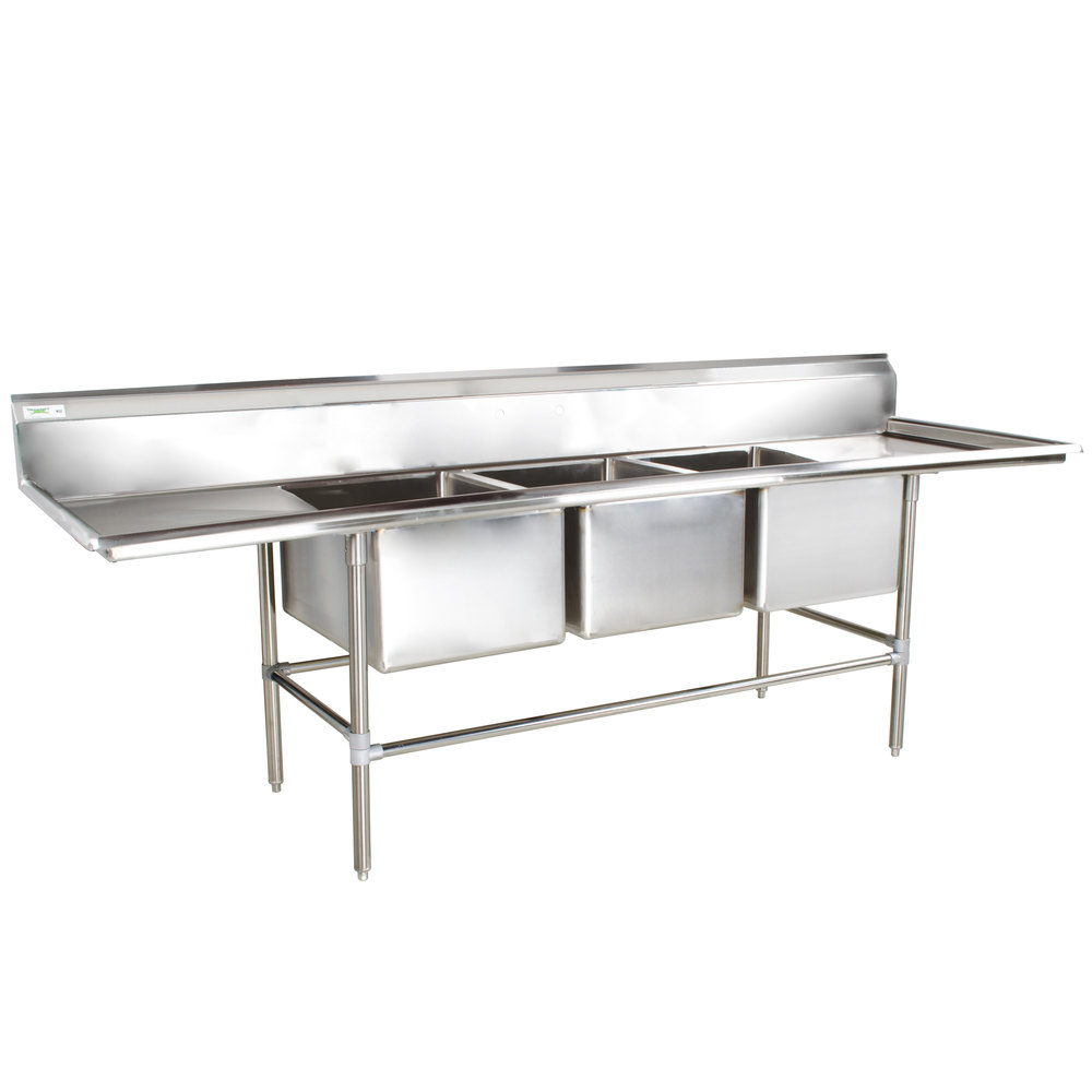 Regency 115 inch 16-Gauge Stainless Steel Three Compartment Commercial Sink with 2 Drainboards - 20 inch x 28 inch x 14 inch Bowls