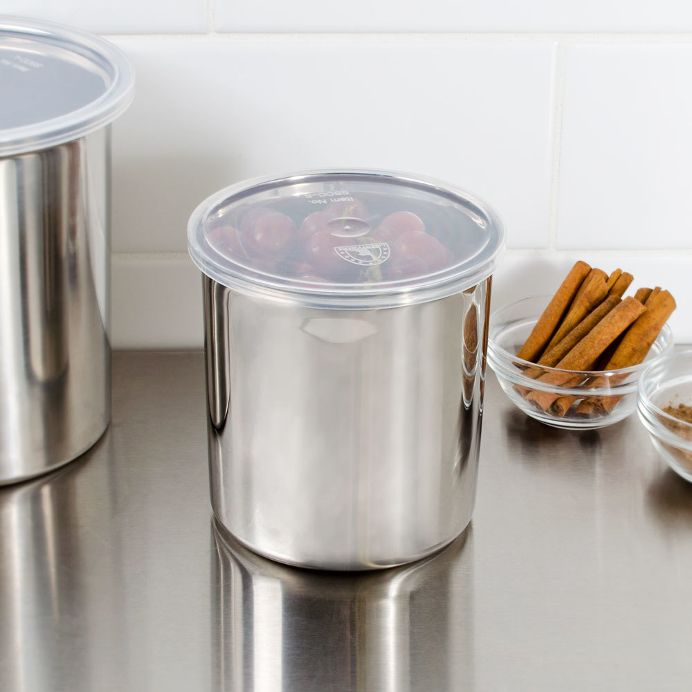 Stainless steel storage containers for kitchen - 1 2 Qt Stainless Steel Food Storage Container With Snap On Plastic Lid Main Picture Image Preview Image Preview