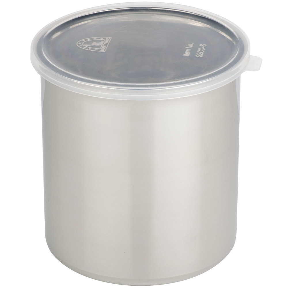 1.2 QT Stainless Steel Food Storage Container with Snap-On Plastic Lid ...  sc 1 st  WebstaurantStore & Quart Plastic Containers With Lids - WebstaurantStore