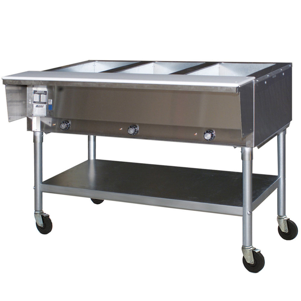Superb Eagle Group SPDHT3 Portable Hot Food Table Three Pan   All Stainless Steel    Open Well