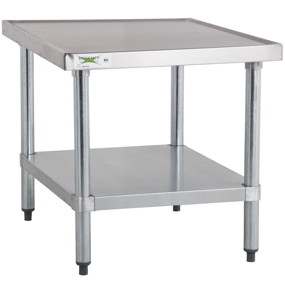 Regency 30 inch x 24 inch 18-Gauge Stainless Steel Mixer Table with Galvanized Legs and Undershelf