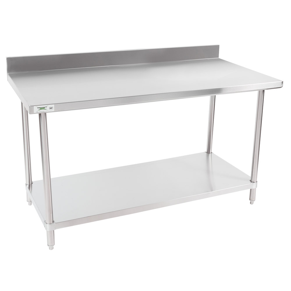 Regency 30 inch x 60 inch 16-Gauge Stainless Steel Commercial Work Table with 4 inch Backsplash and Undershelf