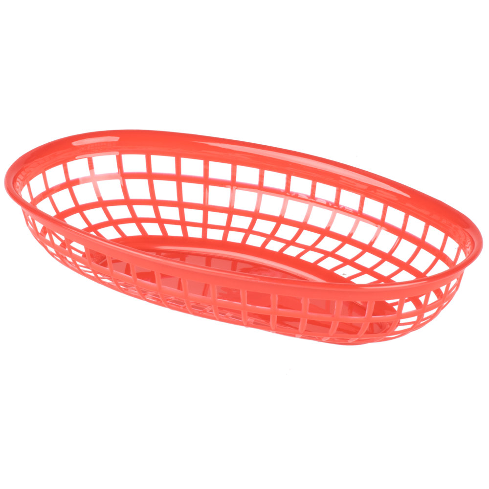 Red Plastic Picnic Basket : Quot red plastic oval fast food basket pack