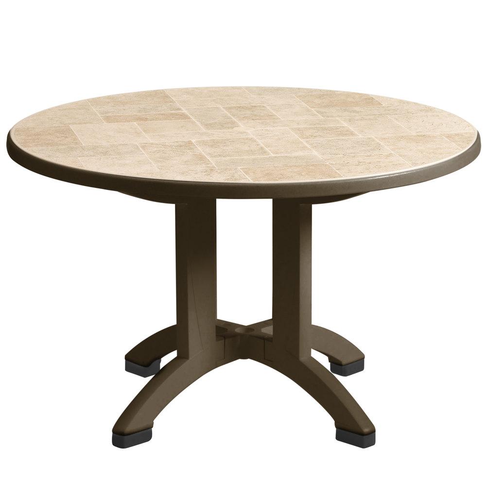 Outdoor Table with Umbrella Hole   Bronze Mist  Main PictureGrosfillex US700037 Siena 38  Round Resin Folding Outdoor Table  . Patio Furniture With Umbrella Hole. Home Design Ideas