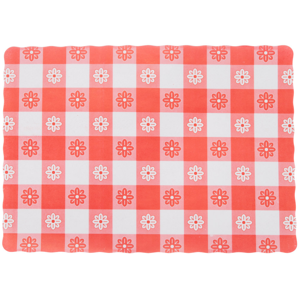 10 Inch X 14 Inch Red Gingham Colored Paper Placemat   1000/Case ...