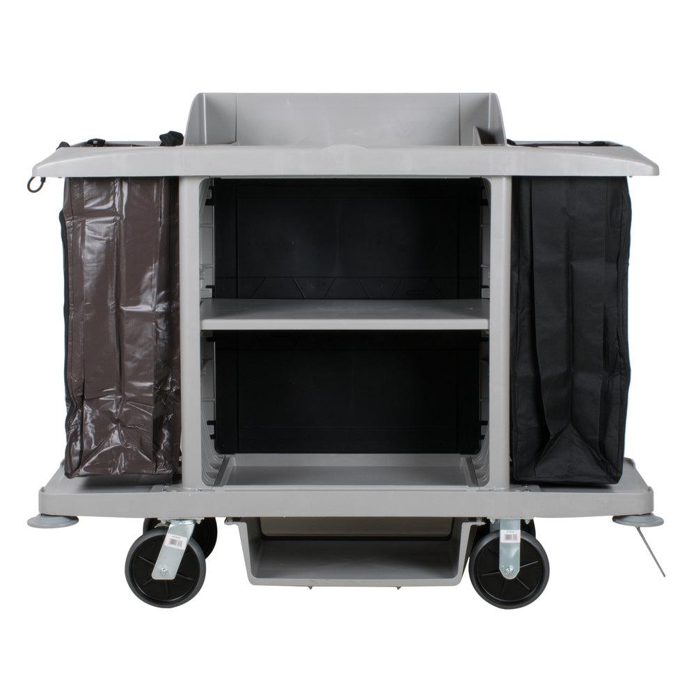 Rubbermaid 1969596 Platinum Full Size Housekeeping Cart FG618900PLAT