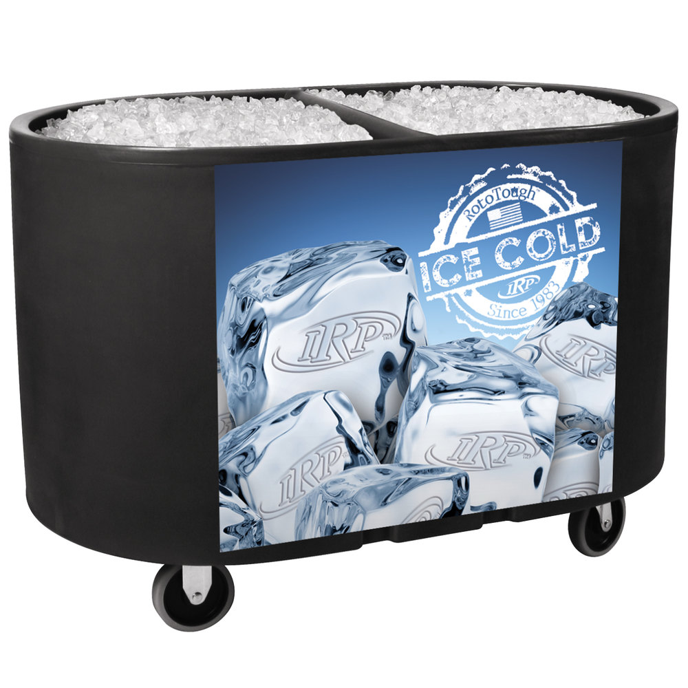 Irp Black Texas Tanker 1060 Portable Insulated Ice Bin Beverage Cooler Merchandiser With Two