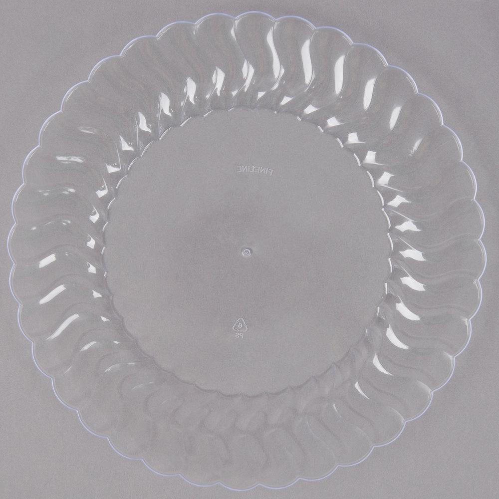 Fineline Flairware 207-CL 7 1/2 inch Clear Customizable Plastic Plate - 180 ... & 7 Inch Plastic Clear Plate - WebstaurantStore