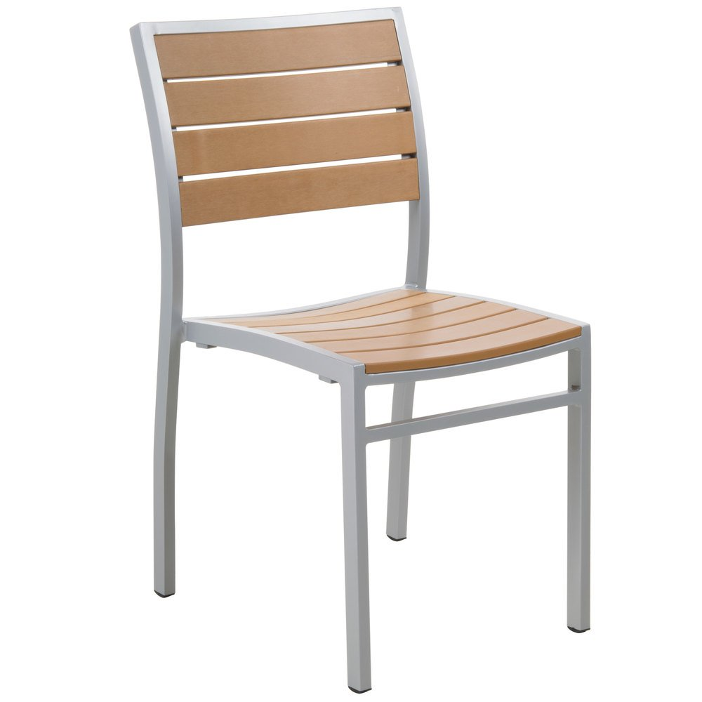 Genial BFM Seating PH102CTKSV Largo Outdoor / Indoor Stackable Synthetic Teak  Silver Side Chair ...