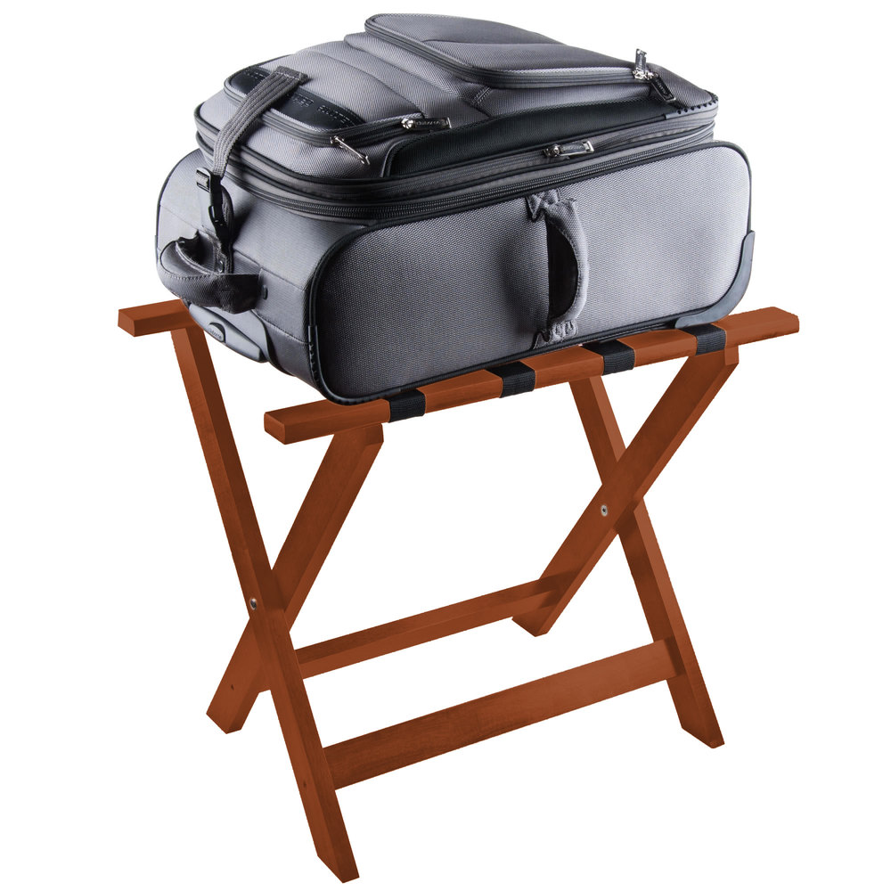 Wood Folding Flat Top Luggage Rack With Light Finish And
