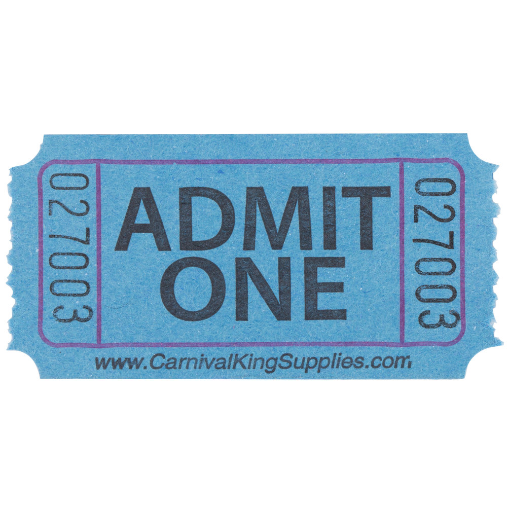 Carnival King Blue 1-Part Admit One Tickets - 2000/Roll