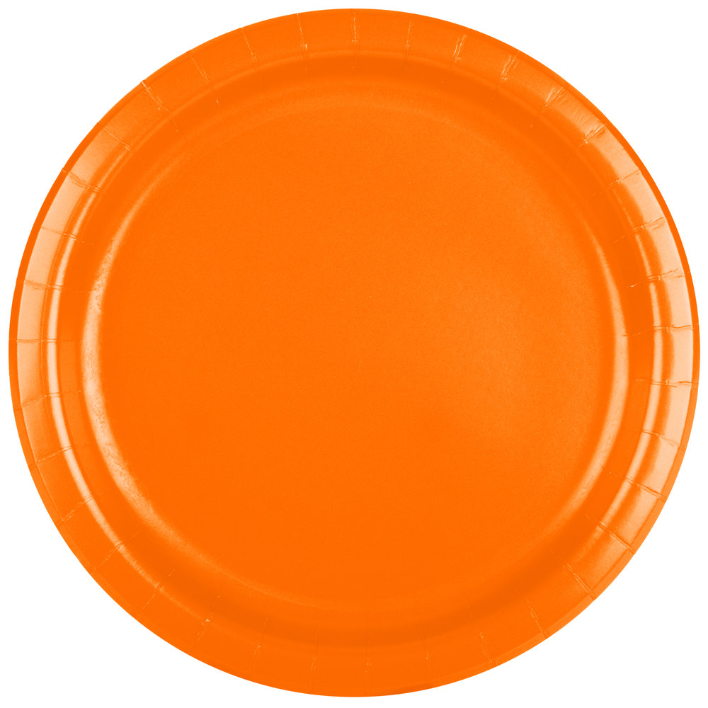 Creative Converting 47191B 9 inch Sunkissed Orange Paper Plate - 240/Case ...  sc 1 st  WebstaurantStore : neon paper plates and napkins - pezcame.com