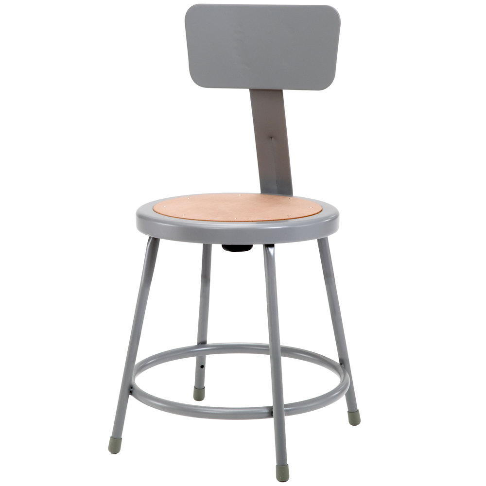 National Public Seating 6218b 18 Quot Gray Round Hardboard Lab