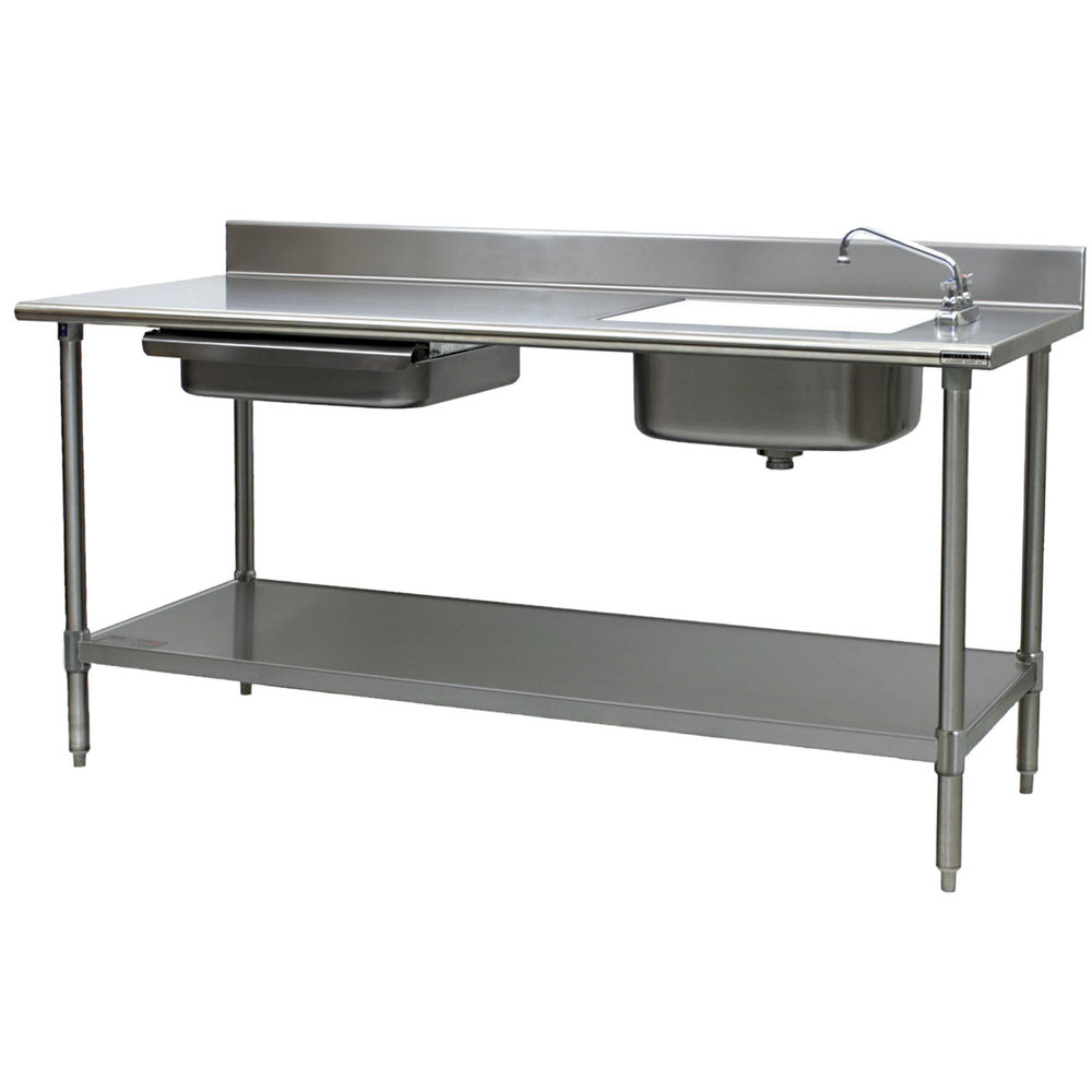 Eagle Group Pt 3096 Stainless Steel Prep Table With Sink