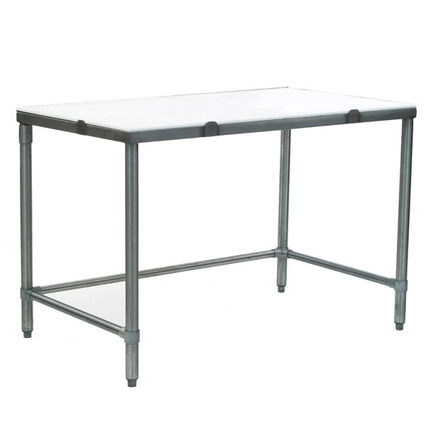 """Eagle Group CT2448S 24"""" x 48"""" Poly Top Stainless Steel Cutting Table - Open Base Main Image 1"""