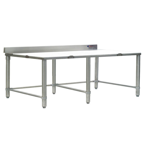 """Eagle Group CT30120S-BS 30"""" x 120"""" Poly Top Stainless Steel Cutting Table - Open Base"""