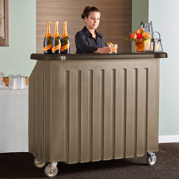 """Cambro BAR540DS672 Granite Sand and Cocoa Designer Series Cambar 54"""" Portable Bar with 5-Bottle Speed Rail Main Image 5"""