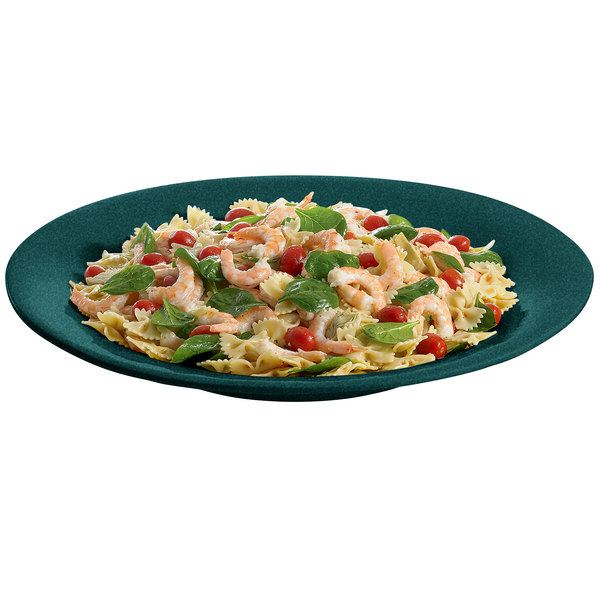 "Tablecraft CW12020HGNS 22"" Hunter Green with White Speckle Cast Aluminum 5 Qt. Wide Rim Round Platter"