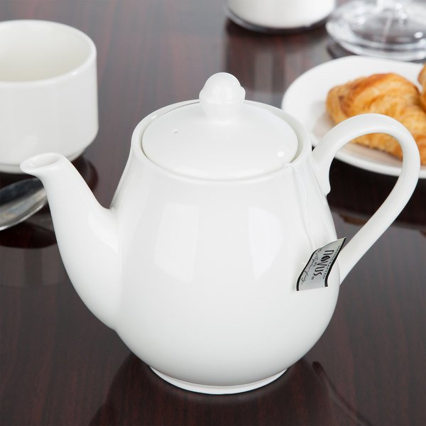 Chef & Sommelier S0120 Embassy 25.5 oz. White Teapot with Cover by Arc Cardinal - 8/Case