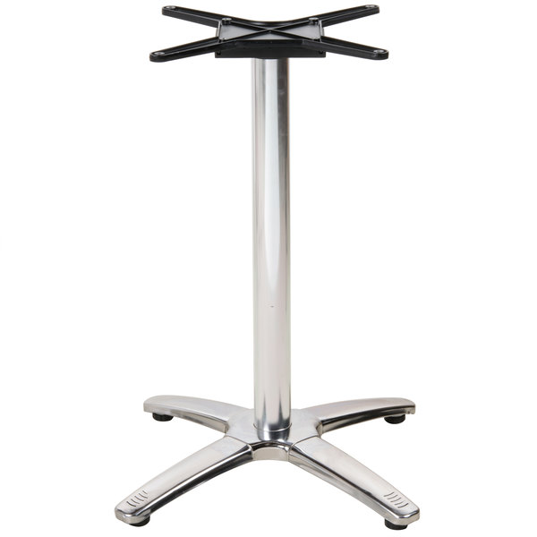 BFM Seating PHTB2525F Stiletto Standard Height Outdoor / Indoor Folding Silver Table Base