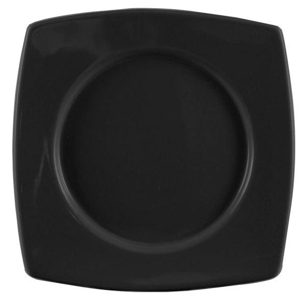 "CAC R-SQ21BK Clinton Color 11 7/8"" Black Round in Square Plate - 12/Case"