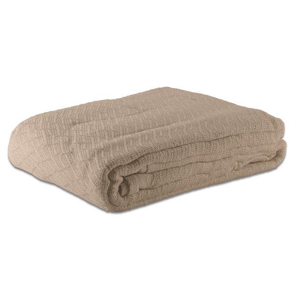 "Case of 12 100% Cotton Hotel Blanket - Thermal Herringbone - Beige Full 80"" x 90"""